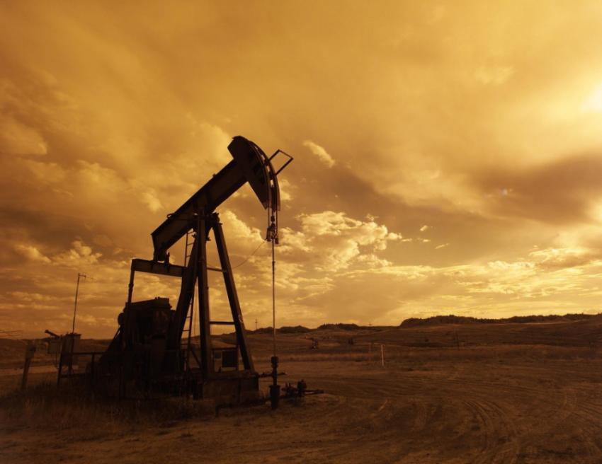 Oil Crane in Yellow Sunset