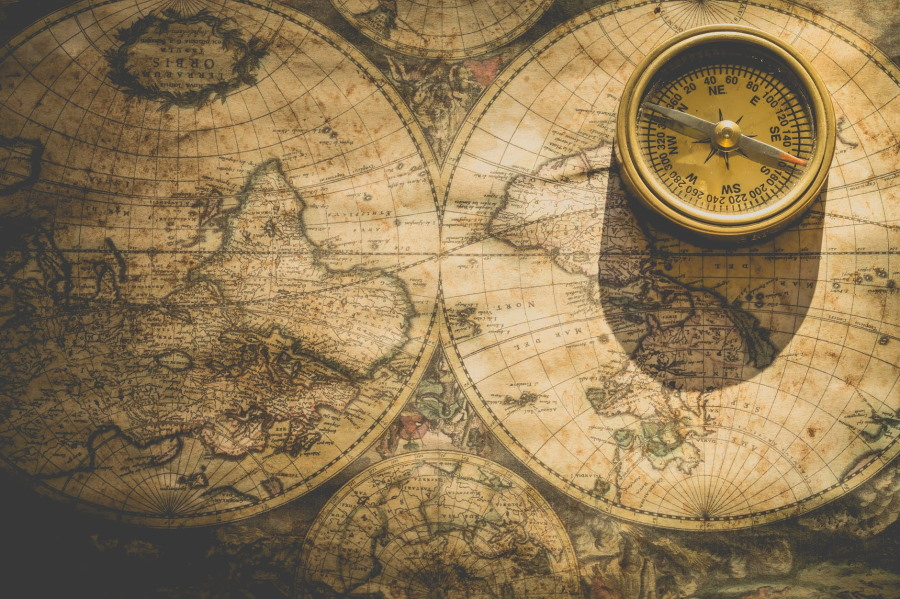 Old Fashioned Map and Compass