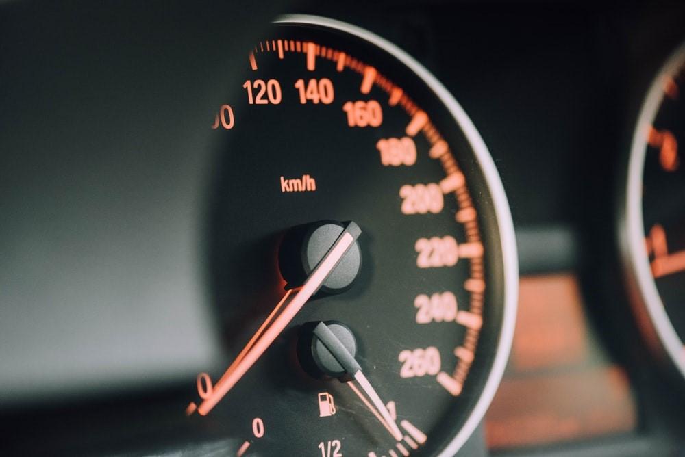 Car speedometer dial.