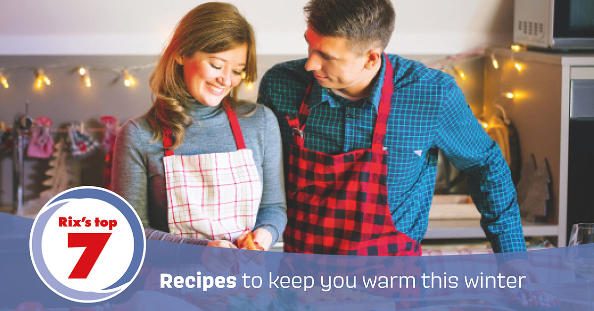 A couple cooking a winter recipe together