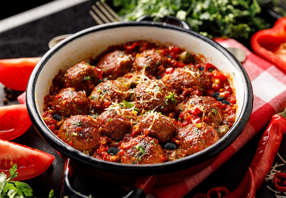 Delicious Meatballs with Black Beans Served
